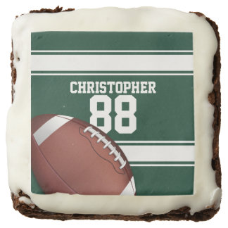Green and White Stripes Jersey Grid Iron Football Square Brownie