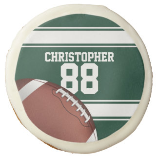 Green and White Stripes Jersey Grid Iron Football Sugar Cookie