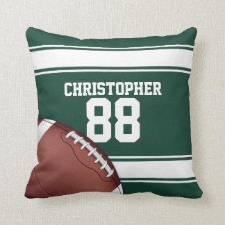 Green and White Stripes Jersey Grid Iron Football Throw Pillow