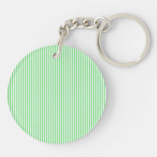 Green and White Stripes Keychains
