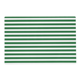 Green and White Stripes Laminated Placemat