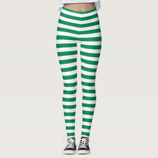 Green And White Stripes Leggings