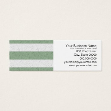 Beach Themed Green and White Stripes Mini Business Card