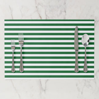 Green and White Stripes Paper Placemat