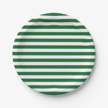 Green and White Stripes Paper Plates