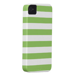 Green and White Stripes Pattern iPhone 4 Case
