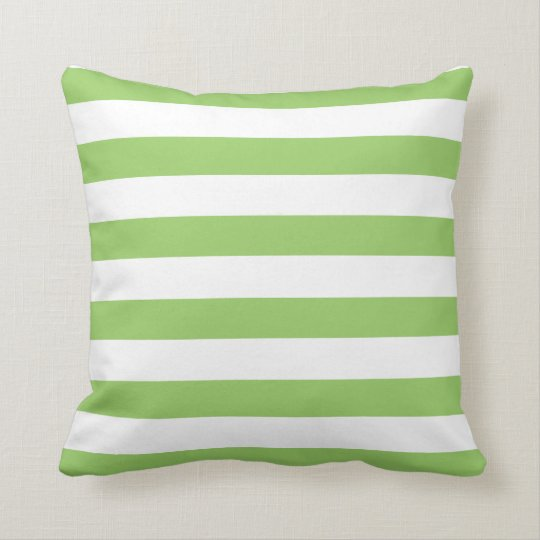 Green and White Stripes Pattern Throw Pillow