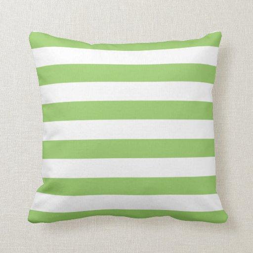 Green and White Stripes Pattern Throw Pillow Zazzle