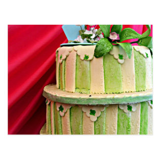 Green and white stripped wedding cake postcard