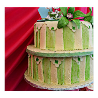Green and white stripped wedding cake poster