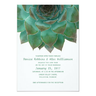 Green and White Succulents Wedding Invitations