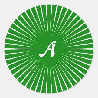 Green and White Sunrays Monogram Round Stickers
