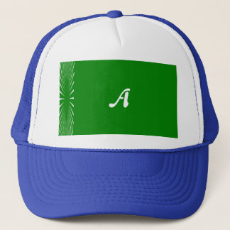 Green and White Sunrays Monogram Trucker Hat