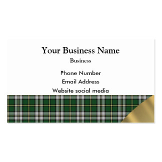 Green and white tartan plaid pattern business card template