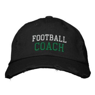 Green and White Text Football Coach Hat Baseball Cap