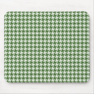 Green and White Textured Houndstooth Patter Mouse Pad