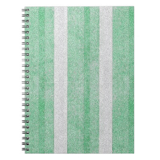 Green and White Textured Stripes Pattern Journal