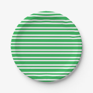 Green and White Thick and Thin Stripes Paper Plate