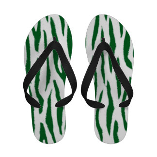Green and White Tiger Print Sandals