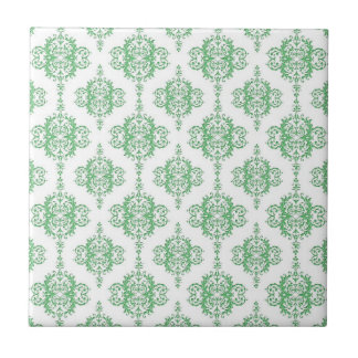 Green and White Victorian Style Damask Ceramic Tile