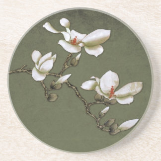 Green and White Vintage Magnolia Beverage Coaster