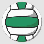 green and white volleyball classic round sticker