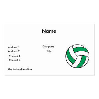 green and white volleyball Double-Sided standard business cards (Pack of 100)