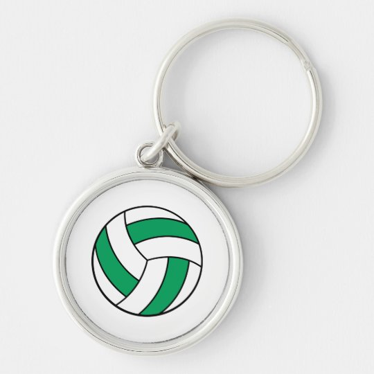green and white volleyball keychain