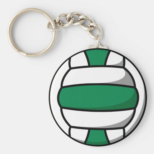 green and white volleyball key chains