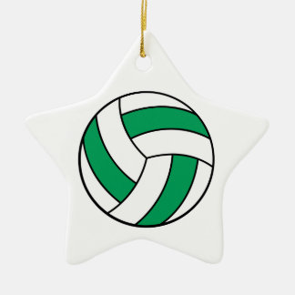 green and white volleyball christmas tree ornament