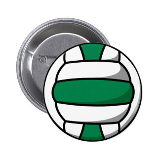 green and white volleyball pinback button