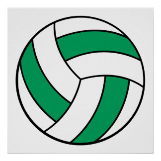 green and white volleyball poster