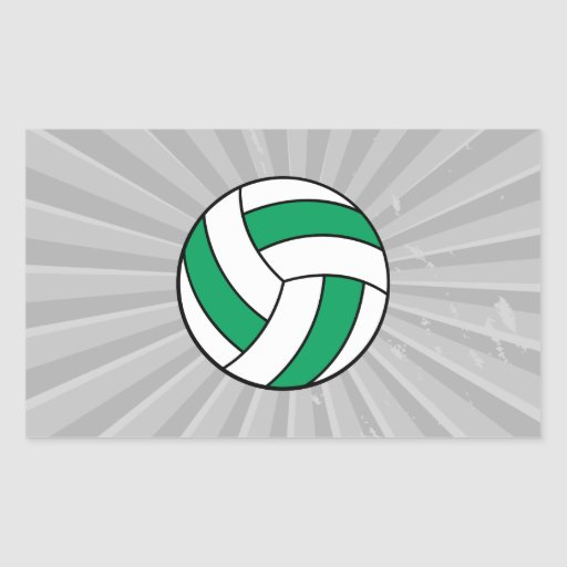 green and white volleyball rectangle stickers