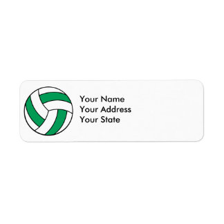 green and white volleyball return address label