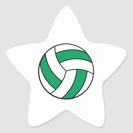 green and white volleyball star sticker