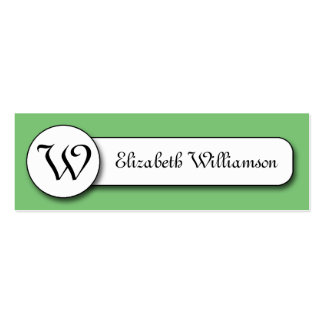 Green and White w/ Monogram Calling Cards Double-Sided Mini Business Cards (Pack Of 20)