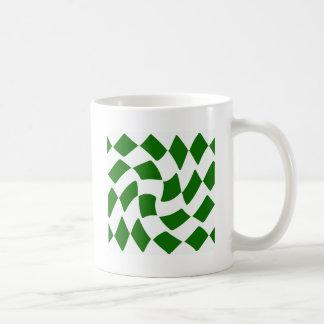 Green and White Warped Checkerboard Coffee Mugs