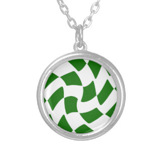 Green and White Warped Checkerboard Silver Plated Necklace