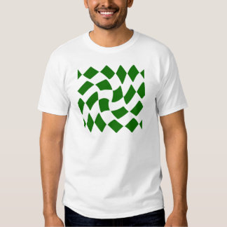 Green and White Warped Checkerboard T-Shirt
