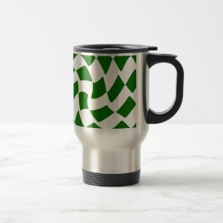Green and White Warped Checkerboard Travel Mug