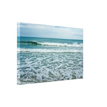 Art Themed Green and White Waves Rolling and Splashing Canvas Print