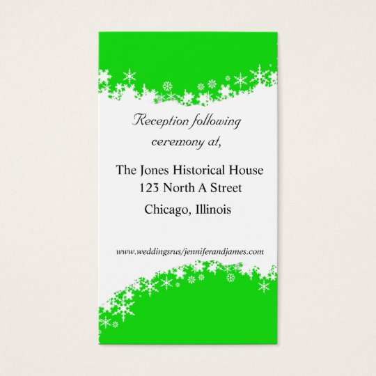 Green and White Wedding enclosure cards