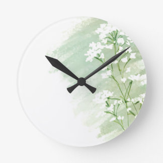 Green and White Wildflowers Clock