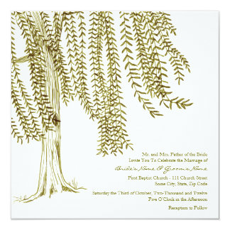 Green and White Willow Tree Wedding Invitation