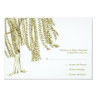 Green and White Willow Tree Wedding RSVP Card