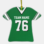 Green and White with Black  Football Christmas Tree Ornament