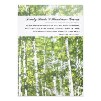 Green and White Woods Summer Wedding Invitation