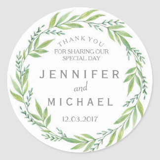 Green and White wreath thank you wedding Sticker