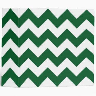 Green and White Zigzag Binder