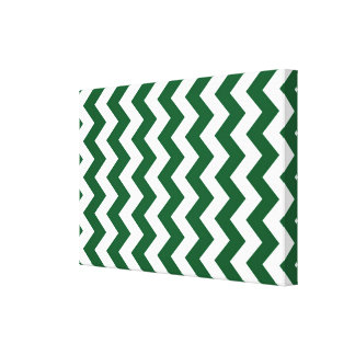 Green and White Zigzag Canvas Prints